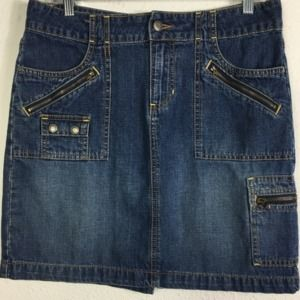 Old Navy 8 Cargo Zip Pocket Jean Skirt